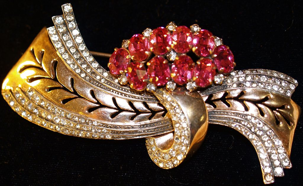ADELE SIMPSON Early Vermeil Brooch - Large - Rare - Signed 1930s