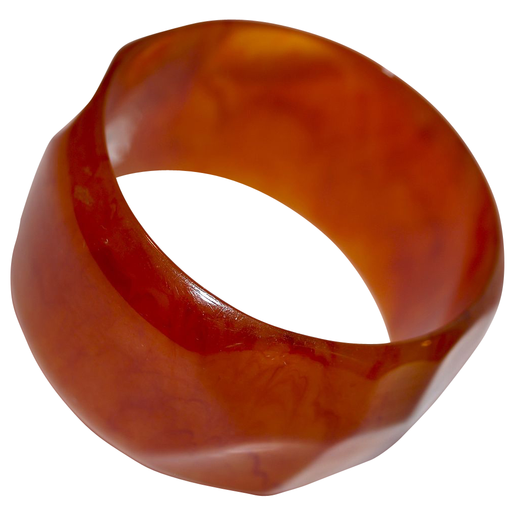 "1-5/8"" Carved/Moulded Marbleized Root Beer Bakelite Bangle"