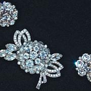 EISENBERG - Rhinestone Brooch/Pin & Earrings/Clip Ons