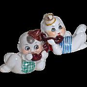 GOOGLE PHONE BABIES - !920s Porcelain Nippon - Pair