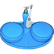 DeVILBISS - Robins Egg Opaque Blue Perfume Atomizer & Twin Powder Jars on Tray