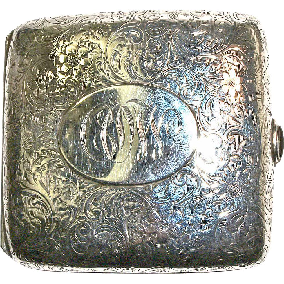 TIFFANY & CO. Antique Engraved Floral Sterling Cigarette/Cheroot Case-Ruby Cabochon