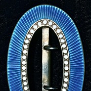 DAVID ANDERSEN NORWAY Azure Blue Guilloche & White Gold Cloisonne over Sterling (Vermeil) Antique Buckle