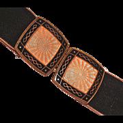 GUILLOCHE Pink & Black Machined Enamel Belt Buckle - Czech