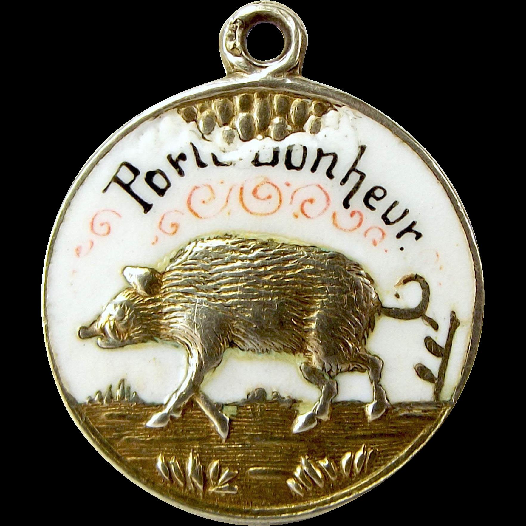 Vintage french porte bonheur 900 silver charm enamel lucky for French porte