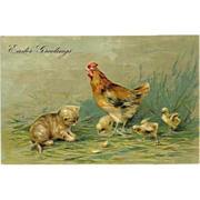 Embossed Easter Postcard with Kitten and Chicks - Germany