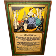 Lovely Mother Motto Print Dated 1926 by E.M. Brainerd - Green and Gold Frame