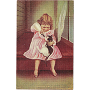Undivided Postcard of Young Girl Feeding Bottle to Cat