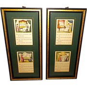 Pair of Double Music Lesson Prints - Wood Frames