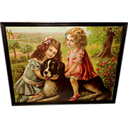 Vintage Print of Rover and His Friends - Two Girls with Newfoundland