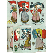 Seven Countries of the World Postcards by Platinachrome - Greece, Mexico, Portugal, Holland, Germany, Belgium, Switzerland