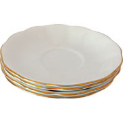 Royal Albert Countess Shape Fluted White Saucers Gold Trim  - Set of Four