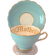 Adderley Floral Bone China Sky Blue 'Mother' Cup and Saucer