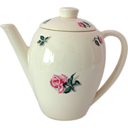 1950s Edwin Knowles Rose and Leaf Coupe Shape Coffee Pot