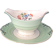 Crown Potteries Mint Green Gravy with Attached Under Plate