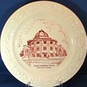 Central Methodist Church Traverse City Michigan 1950s Commemorative Plate