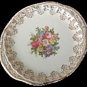 WS George Bolero Floral 22 kt Gold Filigree Two-Handled Platter