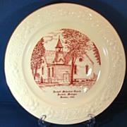 Farwell Methodist Church Farwell Michigan Red Transfer 1960s Commemorative Plate