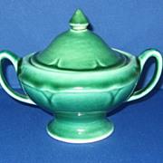 "Mount Clemens Pottery Dark Green ""Petal ""Covered Sugar Bowl"