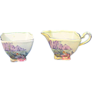 Royal Winton Yellow Sugar and Creamer with Mountain Scenery Number 4071