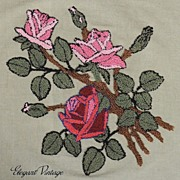 1930's Hooked Work Roses on Linen *Lovely *Grt for Pillow
