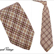 "Men's Vintage Wool Plaid Tie ""A Happy Tie""  4-1/2"""