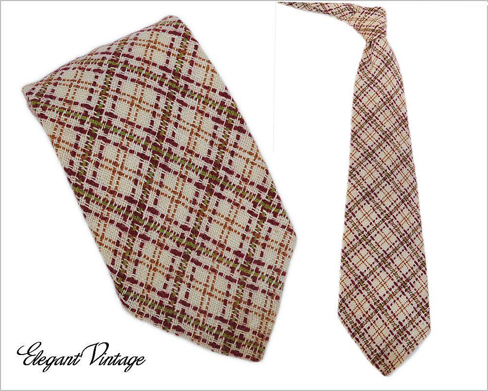 "Men's Vintage Wool Plaid Tie ""A Happy Tie""  4-1/2"""