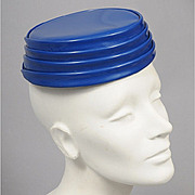 Space Age 1960's Vinyl Tiered Toque Hat - Paris
