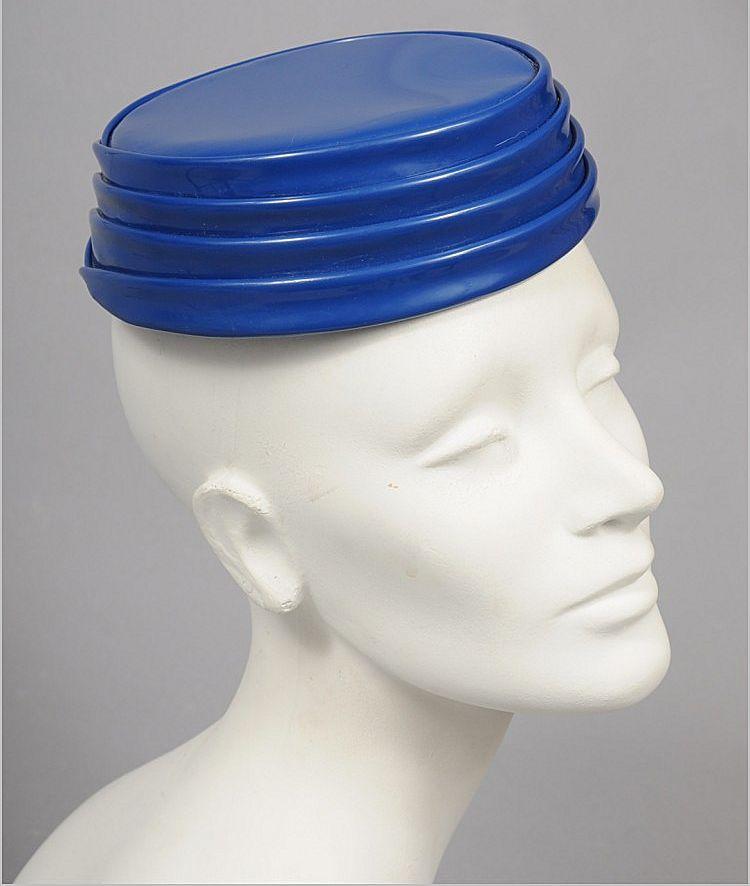 Space Age 1960's Vinyl Tiered Toque Hat - Paris