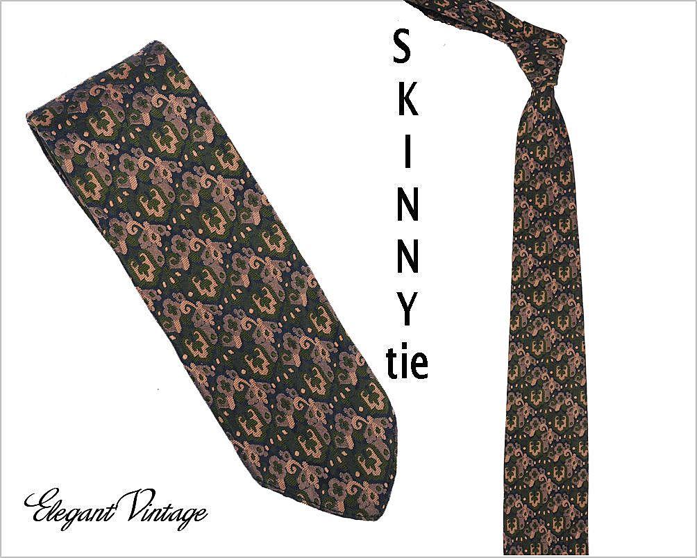 """1960's Brocade Vintage Men's Skinny Tie *Strange of London -  2-1/4"""""""