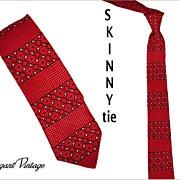 "1960's Brocade Skinny Tie -  2-1/4""  Red, Black & White"