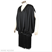 Posh 1980's Fringed Black Cocktail Dress * After Dark * S- M