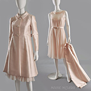 1960s  Malcolm Starr Silk Chiffon Dress & Coat Ensemble S