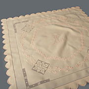 Vintage Apricot-Peach Linen Tea Cloth / Centerpeice *Embroidery, Drawnwork, Monogram