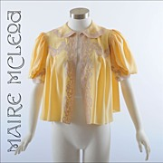 Silk 1930's Lingerie Top Jacket * S-M