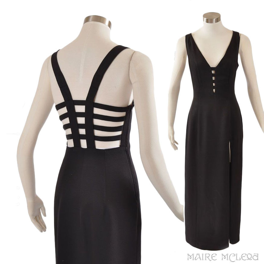 Vintage Sexy Black Dress Gown - Betsy & Adam  S / M