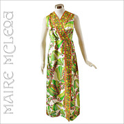 1960's Tropical Floral Long Dress - L