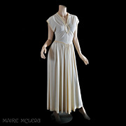 30s - 40s Ivory Crepe Gown - Sequin Trim - S