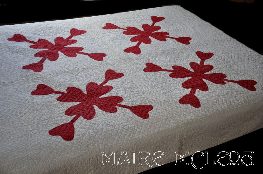 19th C Red & White Quilt - Heart Applique - Intricate Quilting