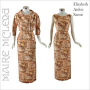 1950s Elizabeth Arden - Sarmi  Figured Silk Gown w/ Bolero Jacket - S