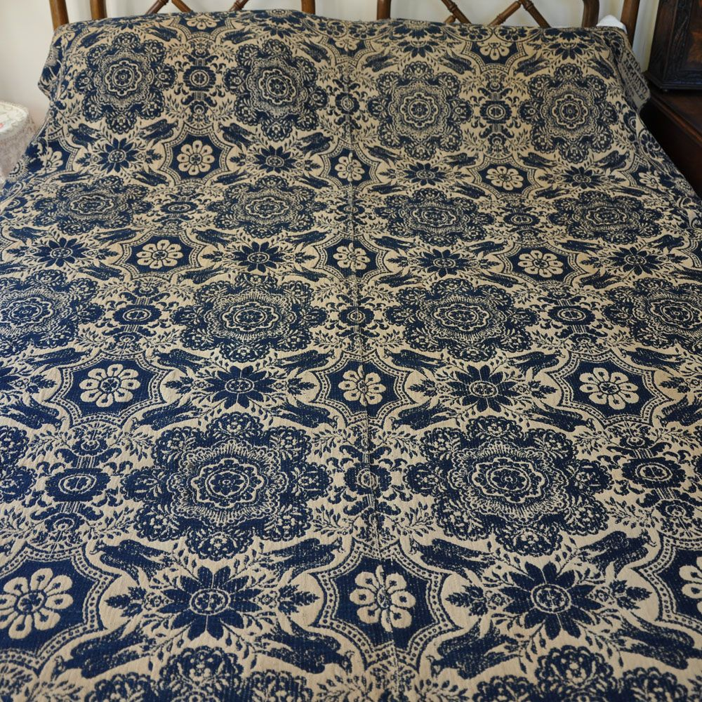 Signed 1843 Archibald Davidson Coverlet - Birds of Paradise