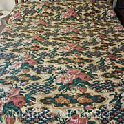 Antique c1850's Roses Pieced Whole Cloth Quilt