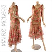 Vintage 1920's Silk Floral Chiffon Dress - Handkerchief Hem - S