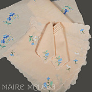 Vintage Madeira Floral Applique Placemat Set for 6 - Mats, Napkins, Runners, 13 pc