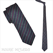 "Vintage 50's Skinny Tie - Multicolor Stripes Linen Weave 2-1/2"""