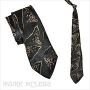 """1940's Black & Ivory Silk Brocade Men's Tie 3"""""""