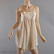 1920's Teddy/ Bra // RARE Silk All-in-One Bra / Chemise - Dorothy Bickman