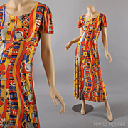 1960's Dress // Vintage 60s Pop Art Print Jersey Dress