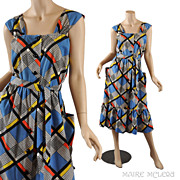 Color Block Vintage 1950's Sundress Dress - S / M