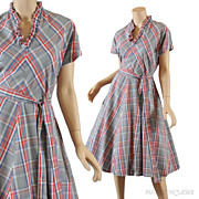Vintage 1950's Gray Plaid Day Dress - S / M